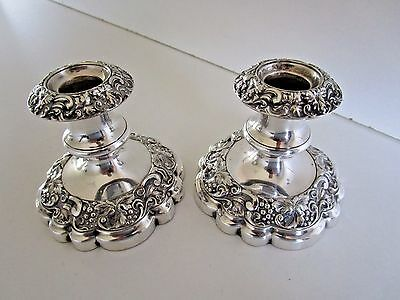 Pair Silver Plated Candlesticks..Embossed..Circa 1910..
