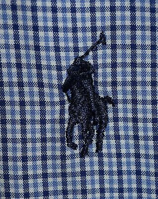 Men's Ralph Lauren Polo Long Sleeve Dress Shirt Blue Plaid Custom Fit 15.5-34/35