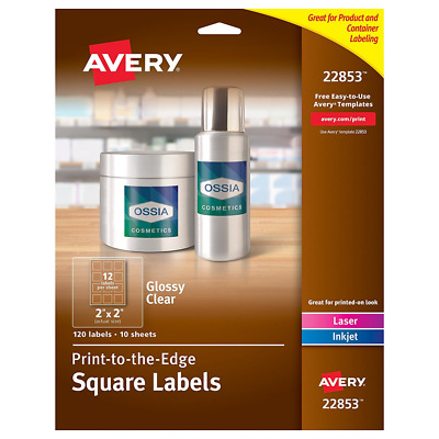 """Avery Print-to-the-Edge Glossy Clear Square Labels, 2"""" x 2"""", Pack of 120 Labels"""