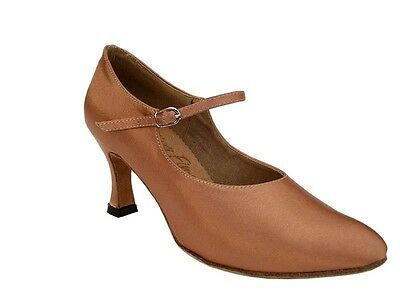 S9137 Tan Satin Ladies Closed Toe Shoes - Clearance!! Size 5 1/5, 2.75 Inch Heel