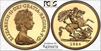 1984 UK Great Britain Gold Proof £5 Pounds Certified PCGS PR69DCAM Secure Holder