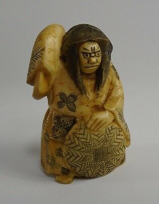 Japanese Bone Ivory Carved Signed Netsuke Figure Rolling Head Face 19th c. actor
