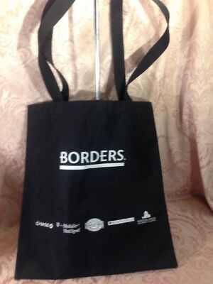 Borders Books Music Video and Cafe Canvas Tote Bag Black Collectible