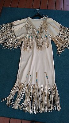 Beautiful Native American Buckskin & Fringed & Beaded Wedding Dress, Size 9/10