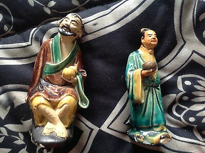Vintage clay Asian figurines  very colorful