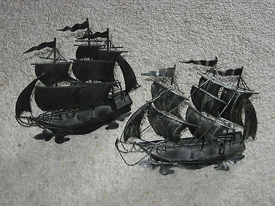 Vintage Metal Sailing Ships Decorations Lot Of Two Nice Condition 1960's