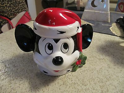 Vintage Rare Mickey Mouse Christmas Candy Dish Ceramic Japan Disney Collectible
