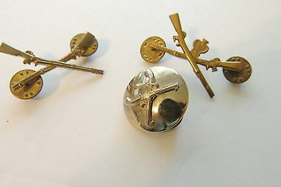 Vintage Set of 3  WWII Military CROSS RIFLE Lapel Coat Pins