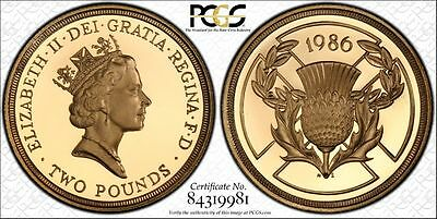 1986 UK Great Britain Gold Proof Commenwealth Games £2 Pounds PCGS PR69DC Secure