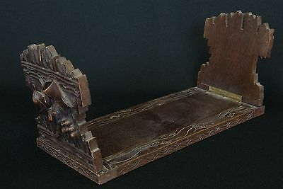 Antique wooden book slide with carved ends - Naive style - Possibly Black Forest