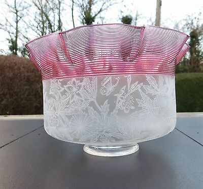 Pretty Etched Gas Lamp / Light Shade with Cranberry Trail, Birds / Butterfly