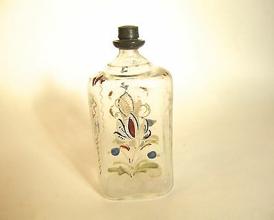 Antique Stiegel Type Bottle with Floral Enamel Painting and Metal Cap