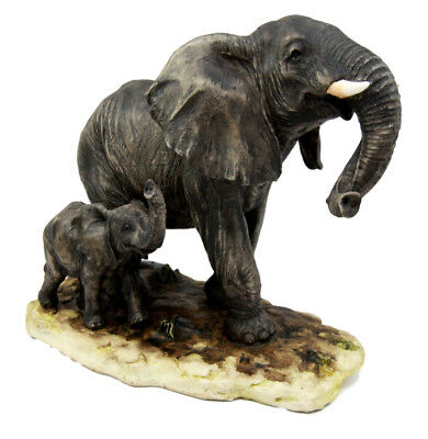 "Wild African Elephant With Calf Family Figurine 8.5""L Resin Statue Home Decor"