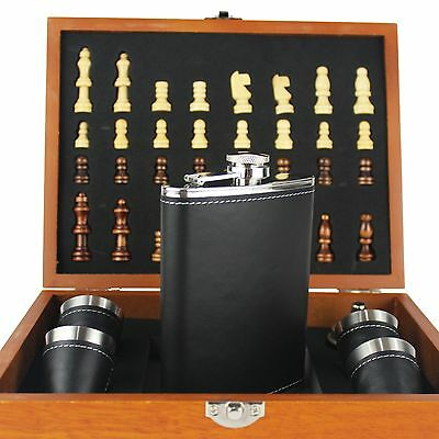 8oz Stainless Steel Black Leather Hip Flask Chess Gift box 4 Cups and Funnel Set