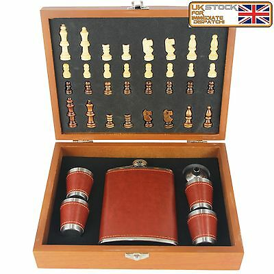 8oz Stainless Steel Rust Leather Hip Flask Chess Gift box 4 Cups and Funnel Set