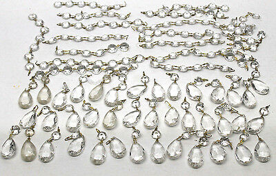 """Antique Crystal Glass Prism Lot Forty 1.5"""" Faceted Tear Drop Chandelier+Buttons"""