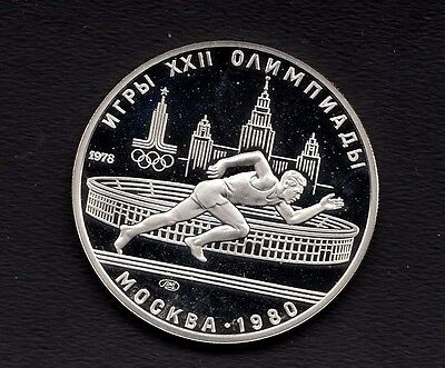1978 Russia USSR  Silver 1/2 OZ Proof 5 Roubles Moscow 1980 Olympics Runner