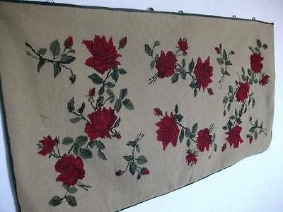 French Antique 19th Century Chateau Handwoven Wall Tapestry Roses Design