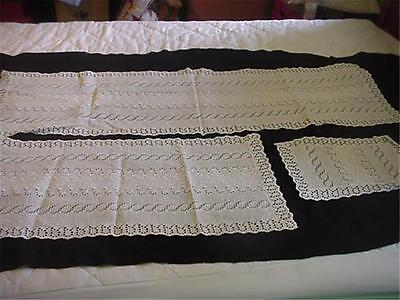 2 Vintage Eyelet Runner + 1 Placemat Ivy Embroidery Paisley Border Eyelet Lace