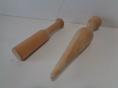 2 Vintage Solid MAPLE Plungers Stuffer for Meat and Food Grinders FREE SHIP