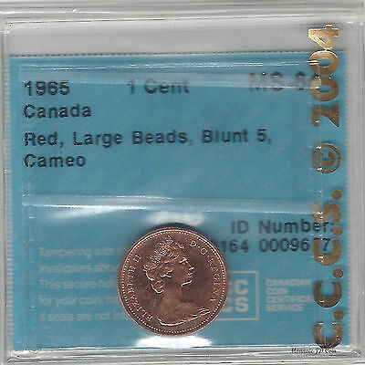 1965 LBB5 Cameo Canada Red  One Cent Certified By CCCS MS-64  (9637)