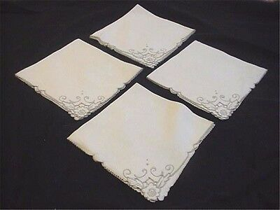 """4 Embroidered Linen Madeira Dinner Napkins 16-1/2 x 16"""" Beige & Taupe Flowers"""