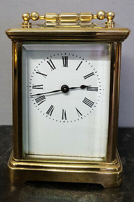 Vintage French Brass 8 Day Carriage Clock, Fully Working