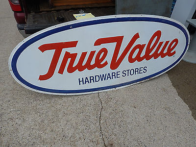 Large Vintage Steel True Value Hardware Store Sign