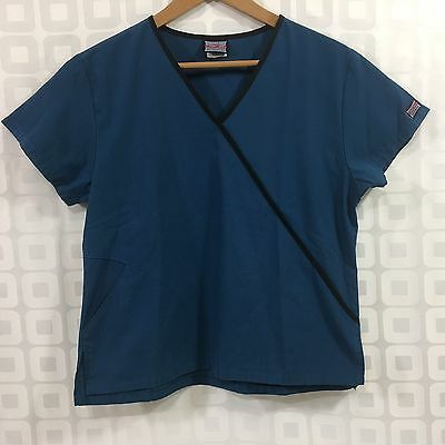 CHEROKEE WORKWEAR Scrub Top Women's Size S Medical Mock Wrap Blue Black Trim