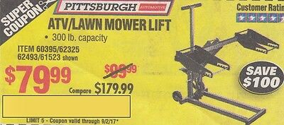 Harbor Freight Super Coupon Save $100 Atv/lawn Mower Lift