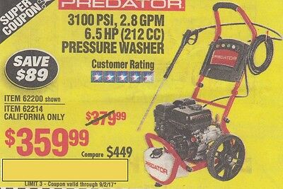 Harbor Freight Super Coupon Save $89 - 3100 Psi 2.8Gpm, 6.5Hp Presure Washer