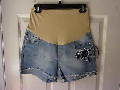 New PLANET MOTHERHOOD Stretch Denim MATERNITY Shorts SIZE M