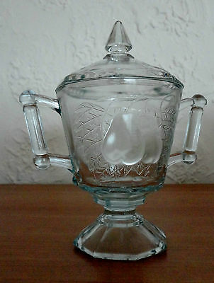 Jeannette Glass Baltimore Pear Blue Glass Footed SUGAR BOWL w LID