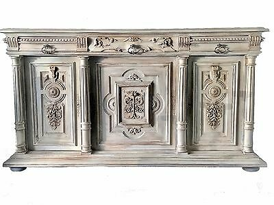 Antique French Henry II Renaissance Carved Buffet Sideboard Cabinet