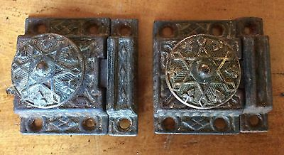 ANTIQUE VICTORIAN CABINET LATCHES w/ KEEPERS, Late 1800's, Lot of 2