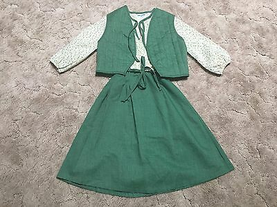 Vintage Sears Roebuck Girls Dress Quilted Vest Scout Floral Green Size 12