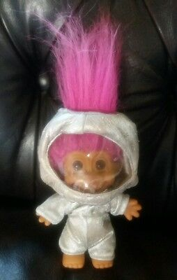 """Vintage RUSS TROLL DOLL ASTRONAUT 5"""" WITH PINK HAIR"""