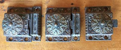 ANTIQUE VICTORIAN CABINET LATCHES, Late 1800's, Lot of 3 Latches with 2 Keepers