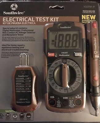Southwire Auto Ranging Electrical Digital Multimeter Test Kit - 10035K-A *NEW*