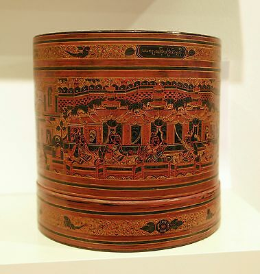 Burma (Myanmar), large antique laquerware container