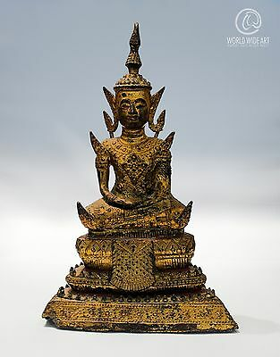 ANTIQUE BUDDHA, BURMA, GILDED BRONZE, 19cm / 7.5in