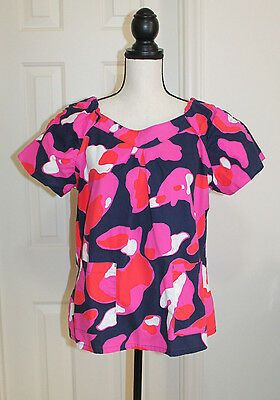 KOI Kathy Peterson Pink Navy Style 134PR Short Sleeve Scrub Top Women's Large