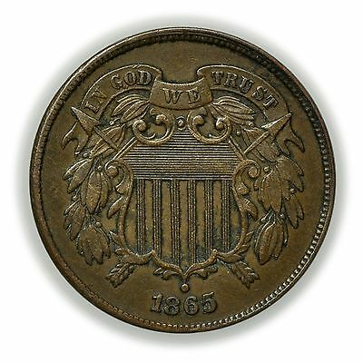1865 Two Cent Piece, Circulated Copper 2c Coin [3255.42]