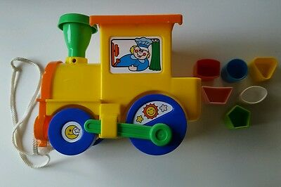 Yellow 4 Shape Sorter Toy Train With 6 Shapes