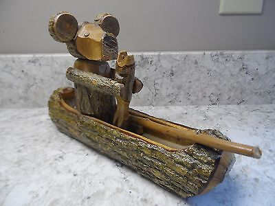 Hand Carved Bear in Canoe With Fish Folk Art Carving Wood Sculpture ADORABLE