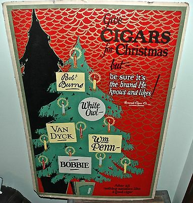 Original Pipe Tobacco * CHRISTMAS CIGAR POSTER * Vintage 33x22 Advertising Sign