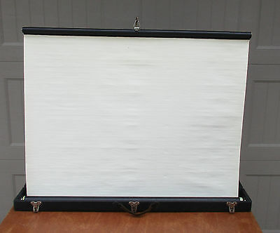 Vintage Antique Portable Movie Projector Screen W/ Carrying Case Eagle Lock USA