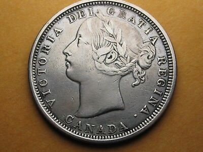 1858 CANADA Silver Twenty Cent * NICE SHARP DETAILS * CLEANED *