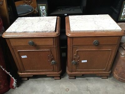 Pair of Marble Topped Bedside Tables