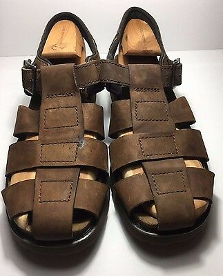 Men's Rockport Leather Closed Toe Fisherman Sandals Brown 13M